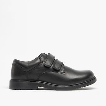 Roamers Charles Boys Leather Touch Fasten Shoes Black