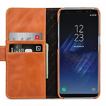 Case For Samsung Galaxy S8 Plus True Leather Cognac Card Holder