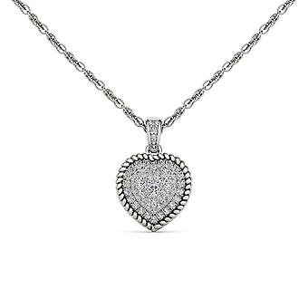 IGI Certified Natural 10k White Gold 0.25Ct Solid Real Diamond Heart Necklace