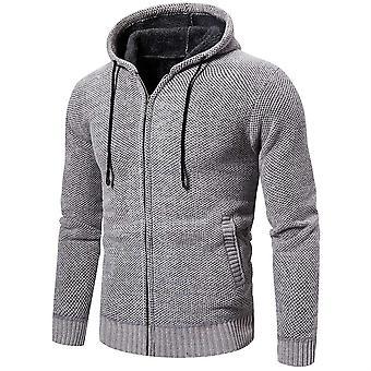 Allthemen Men's massive Wolle Reißverschluss Kapuzen gestrickte Pullover Winter Outwear Hoodies Casual Warm Overcoat