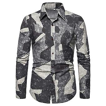 Alle Themen Men's Casual Retro Revers Langarm geometrische Muster Shirt Top