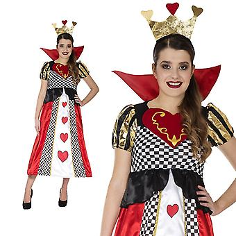Queen of hearts fairytale playing card heart costume ladies long