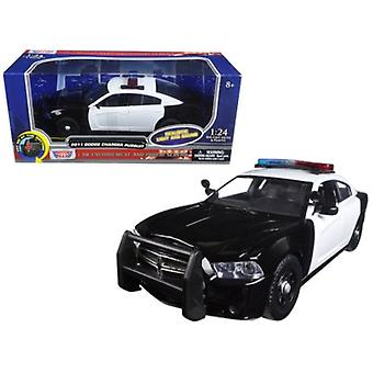 2011 Dodge Charger Pursuit Police Car Black and White with Flashing Light Bar, Front and Rear Lights and 2 Sounds 1/24 Diecast Model Car par Motormax