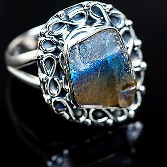 Rough Labradorite Ring Size 8.25 (925 Sterling Silver) - Bijoux Boho Vintage ring989008