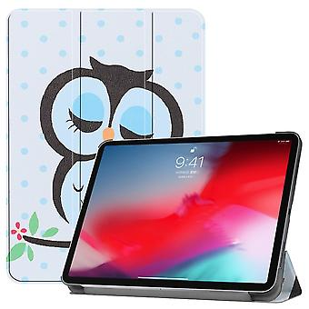 For iPad Pro 11 Inch 2018 Case,PU Leather Folio Cover, Blue Dots & Owl Pattern