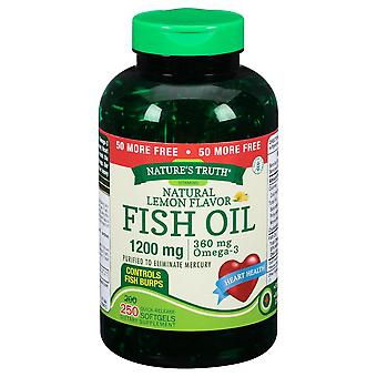 Nature's truth fish oil, 1200 mg, quick release softgels, natural lemon, 250 ea