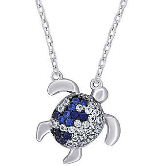 925 שטרלינג כסף Mens נשים כחול CZ שרשרת צב ים 17 אינץ ' צעדים 25.5 x 14.1 מילימטר תכשיטים רחבים מתנות לגברים