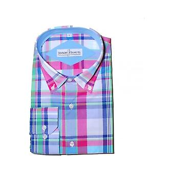 JSS Checked Blue & Pink Regular Fit 100% Cotton Shirt