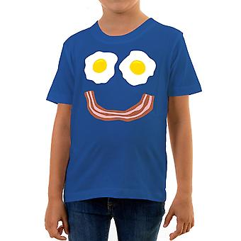Reality glitch bacon and eggs smile kids t-shirt