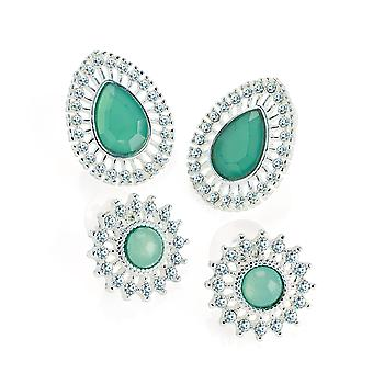 Two Pairs Silver Colour Jade Green Effect Stud Earring Set