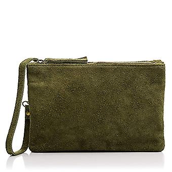 FIRENZE ARTEGIANI Real Leather Women's Bag. Leather bag Soft tatto. Short handle and shoulder bag. Woman's handbag. Made in ITALY. REAL ITALIAN PELLE 25x27x4cm. Color: GREEN OLIVE DARK