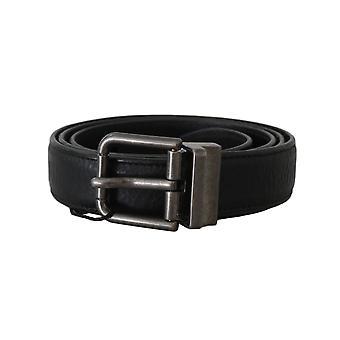 Dolce & Gabbana Black Leather Brushed Metal Buckle Belt
