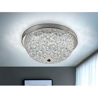Schuller Brilliance - Lampe de plafond avec lumière LED réglable en intensité et température de couleur. Fait de métal, finition chromée et diffuseur acrylique clair avec simil design en cristal facetté. Télécommande incluse. 31W LED, 2900 lm, 3000-6000 K. - 461975