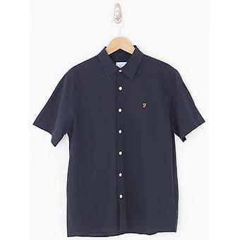 Farah Hudspeth Seersucker Shirt - True Navy