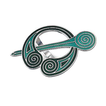 Celtic Green Coils Enamel Scarf Ring - Gift Boxed