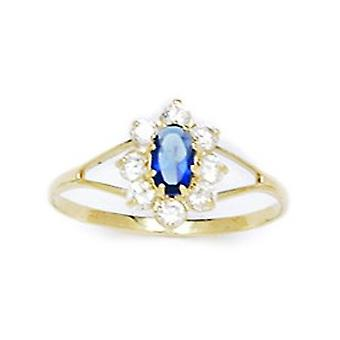14k Yellow Gold Deep Blue CZ Cubic Zirconia Simulated Diamond Size 5.5 Oval Flower for boys or girls Ring
