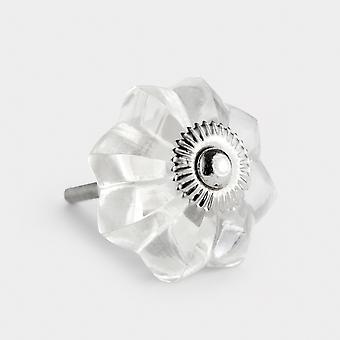 Glass Door Knob - Clear - Flower