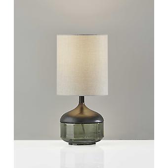 "7.5"" X 7.5"" X 16.25"" Black Wood Glass Table Lamp"