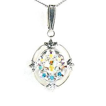 Crystal World Silver AB Flower Pendant On Chain made with Swarovski crystals