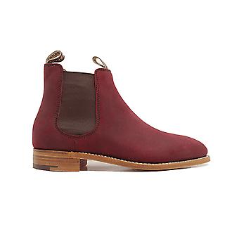 Barker Gina Plum Waxy Suede Leather Womens Pull On Chelsea Boots