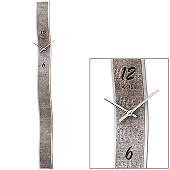 AMS 9418 wall clock quartz analog silver modern with faux leather and glass