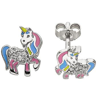 Kids stud earrings unicorn 925 silver 14 cubic zirconia earrings kids earrings