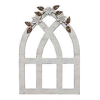 苦しんでいる白いアーチw/金属の花の壁の装飾