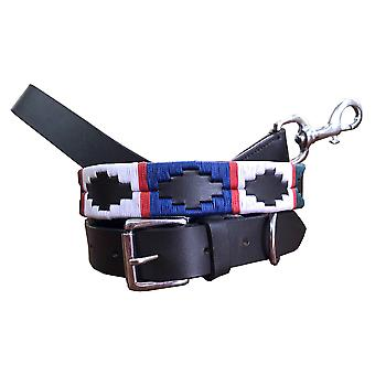 Carlos diaz genuine leather  polo dog collar and lead set cdkupb659