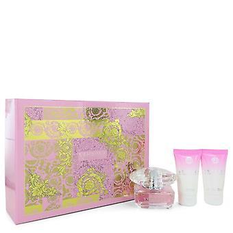 Presente de cristal brilhante conjunto por Versace 1,7 oz Eau De Toilette Spray + 1,7 oz + Loção corporal 1,7 oz Shower Gel