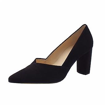 Högl 9-10 7502 Business Stylish Pointed Toe Suede Court Shoes In Black Suede