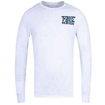 True Religion Long Sleeve Block Logo White T-Shirt
