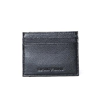 Emporio Armani Black Leather Clipped Card Holder