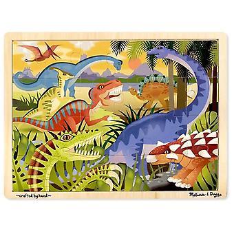 ميليسا ودوغ 24 قطعة ديناصور خشبي بانوراما