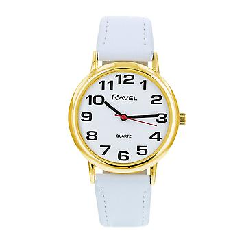 Ravel Classic Analogue Jumbo White Dial White PU Strap Ladies Dress Watch R0105.34.1A
