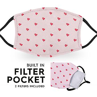 Hearts - Reusable Adult Face Masks - 2 Filters Included