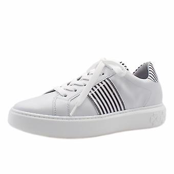 Peter Kaiser Ilena Leather Modern Lace Up Sneakers In White Black