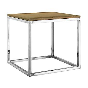 Premier Housewares Hampstead Oak Wood Stainless Steel Side Table Home Decor 60cm