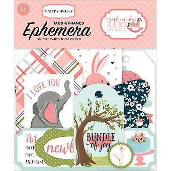 Carta Bella Rock-a-Bye Girl Frames & Etiquetas Ephemera