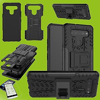 Para LG K41S Hybrid Case 2 peças Preto + Vidro Temperado Capa da manga capa da manga