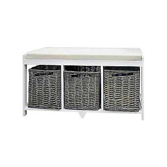 Rebecca Furniture Bench White container 3 baskets brown wicker sitting upholstered kitchen entrance