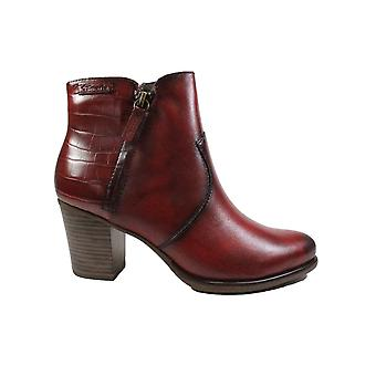 Tamaris 25338 Red Leather/Textile Womens Heeled Ankle Boots