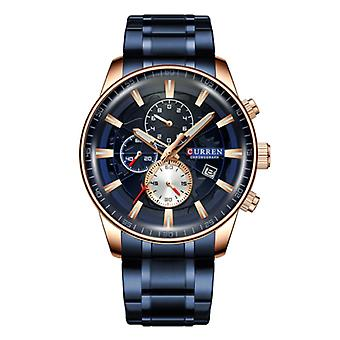 Curren Steel Luxury Watch - Strap Analog Quartz Stainless Movement for Men - Blauw