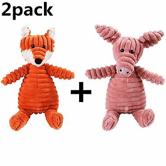 Dog Chew Squeak Giraffe Fleece Rope Interactive Toy Plush Puppy Deer For Pet