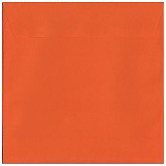 Kurpitsan oranssi kuori/sinetin 160mm neliön värillinen oranssi kirjekuoria. 120gsm Luxury FSC-sertifioitu paperi. 160 mm x 160 mm. Lompakko tyyli kirjekuori.