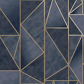 Charon Geometric Wallpaper Navy/Gold Holden 91143