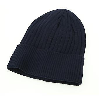 Stickad mössa och nackvärmare - Män - Marinblå