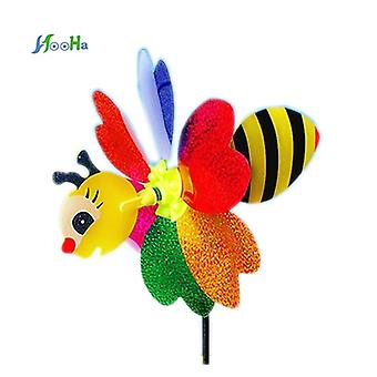 Plastic Windmill Small Animal Stereo Six Leaf Pattern Wind Spinner Windmills Garden Lawn Party Decor Toy For Children