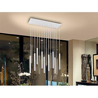 Integreret LED 14 Lys Klynge Drop Bar Loft Vedhæng Matt Hvid, Guld
