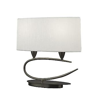 Mantra ispirato - Lua - Lampada da tavolo 2 Light E27, Satin Nickel con White Shade