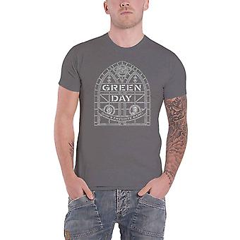Green Day T Shirt Stained Glass Arch Band Logo new Official Mens Charcoal Grey